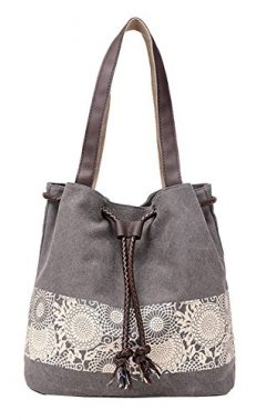 Beach Bag Tote Bag Women's Handbag Canvas Shoulder Hobo Bag Shopper Shopping Bag (Grey)