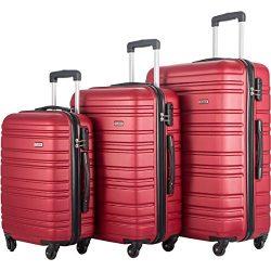 Flieks 3 Piece Luggage Set Lightweight Spinner Suitcase (Red)