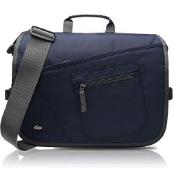 Qipi Messenger Bag – Shoulder Bag for Men & Women, 15″ Laptop Pocket (Blue)