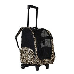 World Traveler Women's 18″ Rolling Pet Carrier Convertible Fashion Backpack, Leopard ...