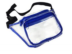 Clear Fanny Pack. Stadium Approved Waist Bag for Events, Games, and Concerts Transparent (Blue)