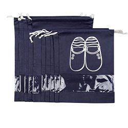 ZUYEE 10 PCS Travel Shoe Bags with Clear View Window Non-woven Drawstring Shoe Organizer Dust-pr ...