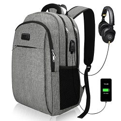 Travel Laptop Backpack, IIYBC Business Anti Theft Laptop Backpack with USB Charging Port & H ...