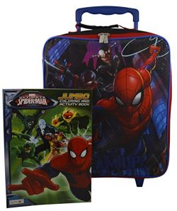 Marvel Spiderman Rolling Pilot Case Case Luggage w/ Bonus Coloring Book