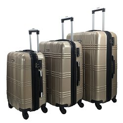 3 Piece Luggage Set Durable Lightweight Spinner Suitecase-LUG3-GL8109-CHAMPAGNE