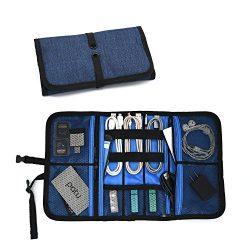 Patu Roll Up Electronics Accessories Travel Gear Organizer Case, Portable Universal External Bat ...