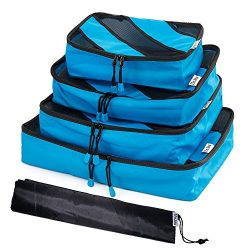 Travel Organizer Bag Packing Cube Set-HoJax 4-Pieces Small and Large Cube Pack with Shoe Bag (Blue)