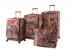 Lily Bloom Luggage Set 4 Piece Suitcase Collection With Spinner Wheels For Woman (Origami)