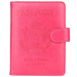 GDTK Leather Passport Holder Cover Case RFID Blocking Travel Wallet (Rose Red)
