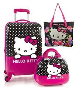 Heys Sanrio Hello Kitty 3pc CarryOn Hardside Spinner & Beauty Case 22″ 12″ Bonus ...