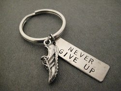 RUN and NEVER GIVE UP Key Chain / Bag Tag – Running Shoe Charm and Rectangle Nickel Silver ...