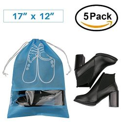 Pack of 5 Dust-proof Breathable Travel Shoe Organizer Bags for Boots, High Heel — Drawstri ...