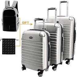 HORIZONA 3 Pieces Luggages Set Lightweight Spinner Trolley (20″ 24″ 28″)Silver