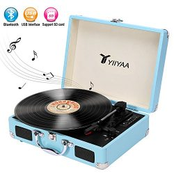 YIIYAA Vinyl Record Turntable Victrola Vintage 3-speed Belt Driven Bluetooth Portable Suitcase w ...