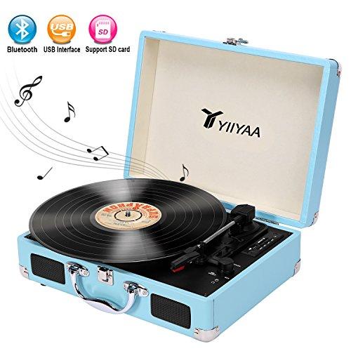 Yiiyaa Vinyl Record Turntable Victrola Vintage 3 Speed