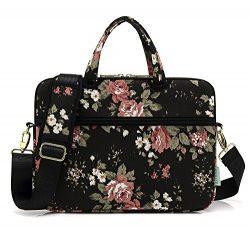 KAYOND Black chinese Rose Canvas Laptop Shoulder Messenger Bag Case Sleeve for 14Inch Laptop and ...