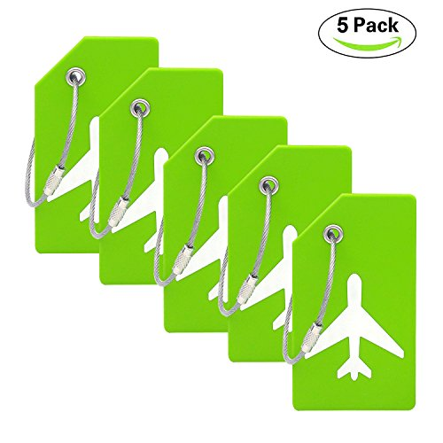 Silicone Luggage Tag With Name ID Card Perfect to Quickly Spot Luggage Suitcase (Plane 5Pcs Green)