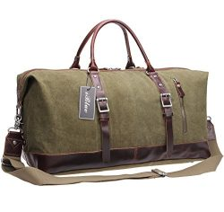Iblue Genuine Leather Trim Travel Tote Duffel Garment Gym Shoulder Handbag Canvas Overnight Week ...