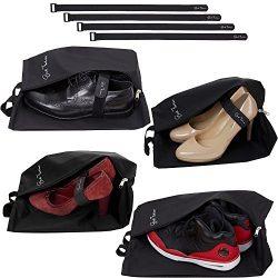 Travel Shoe Bags for Men & Women – Set of 4 Waterproof Nylon Pouches with Zipper + Fas ...