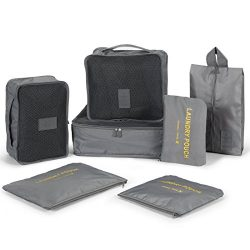 DOKEHOM 7 Set Packing Cubes Travel Organizers (Grey)