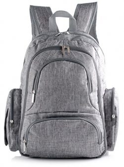 Travel Backpack Diaper Bag with Free Stroller Straps, Changing Pad & Insulated Sleeve | Mult ...