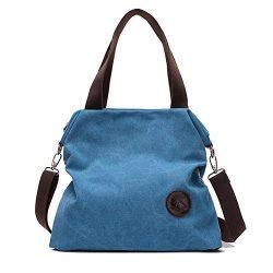 Sanxiner Women's Casual Canvas Tote Bags Shoulder Handbag Crossbody Bag (01Blue)