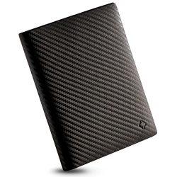 EGNT RFID Carbon Travel Bifold Wallet l Passport Holder Cover Sleeve Case Genuine Leather Slim