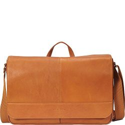 Kenneth Cole Reaction Come Bag Soon – Colombian Leather Laptop and iPad Messenger, Cognac