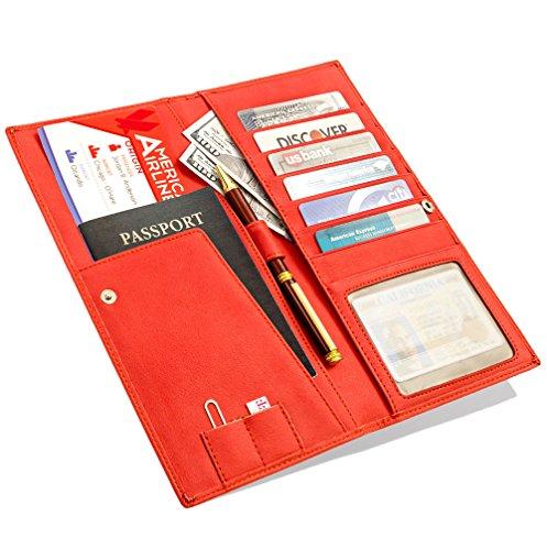 travel wallet passport holder long leather wallet and travel document organizer wallet for. Black Bedroom Furniture Sets. Home Design Ideas