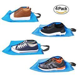 Bagail Set of 4 Lightweight Waterproof Nylon Storage Traveling Tote Shoe Bags Blue 15.8×10.2