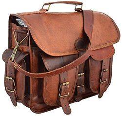 Sankalp Leather Real Goat Leather Vintage Brown Messenger Laptop Bag, One Size