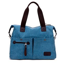 Lonson Unisex Canvas Shoulder Bag Big Travel Handbag Weekend Tote Bag (Blue)