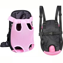 Sunfei Nylon Mesh Pet Puppy Dog Cat Carrier Backpack Front Net Bag Tote Sling Carrier (Pink, S)