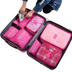 7Pcs Waterproof Travel Storage Bags Clothes Packing Cube Luggage Organizer Pouch(Rose red)
