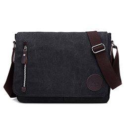 Vintage Canvas Satchel Messenger Bag for Men Women,Travel Shoulder bag 13.5″ Laptop Bags B ...