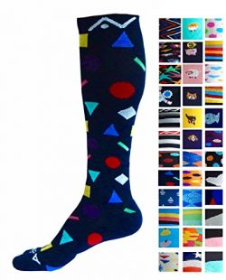 Compression Socks (1 pair) for Women & Men by A-Swift,Confetti,L-XL