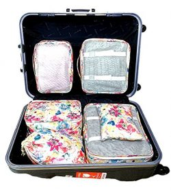 my FL 6pcs Packing Cubes Organizers Set with Shoes Bag Compression Travel Luggage (Bright flowers)