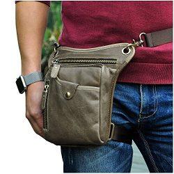Le'aokuu Mens Genuine Leather Messenger Riding Hip Bum Waist Pack Drop Leg Cross Over Bag  ...