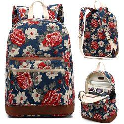 Kenox Girl's School Rucksack College Bookbag Lady Travel Backpack 14Inch Laptop Bag (Blue- ...