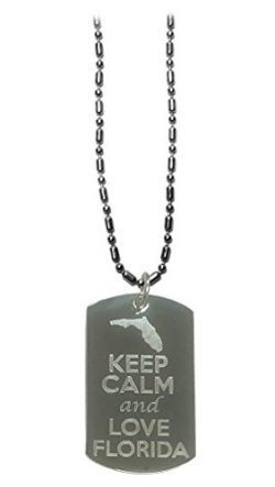 Hat Shark Keep Calm and Love Florida State Logo – Military Dog Tag, Luggage Tag Metal Chai ...