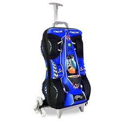 Fenza Racing Trolley – Childrens Carry-on Hand Luggage Racing Car Design (Blue)