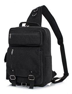 Messenger Bag for Men, Canvas Crossbody Sling Shoulder Bags for Women Haversack Khaki