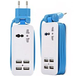 Europe USB Power Strip With 4 Ports USB Charging Station Outlets 5V 2.1A-1A 21W Universal Socket ...