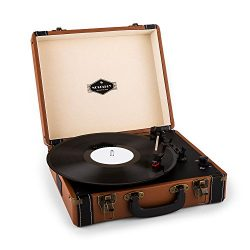 auna Jerry Lee • Portable Vinyl Record Player • Suitcase • Vintage Turntable • Built-In Stereo S ...