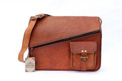 Shakun Leather Handmade Vintage Satchel Messenger Bag Cross Full Zip Front Handmade Laptop MacBo ...