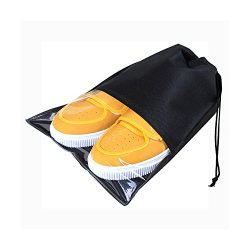 UXUAN 10 Pcs 2 Sizes Travel Shoe Bags with Drawstring and Clear Window Waterproof Dust-proof Non ...