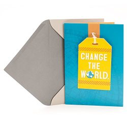 Hallmark Graduation Greeting Card (Removable Luggage Tag, Change the World)