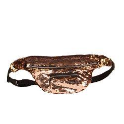 BESTOYARD Sequins Fanny Pack Waist Pack Bag Casual Sport Waist Pouch (Gold)
