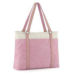 """Plambag Canvas Laptop Tote Bag 15.6"""" Work Shopper Shoulder Handbag for Women (Pink)"""