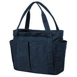 Riavika Canvas Weekend Tote Bag Shoulder Bag for Women (Blue)